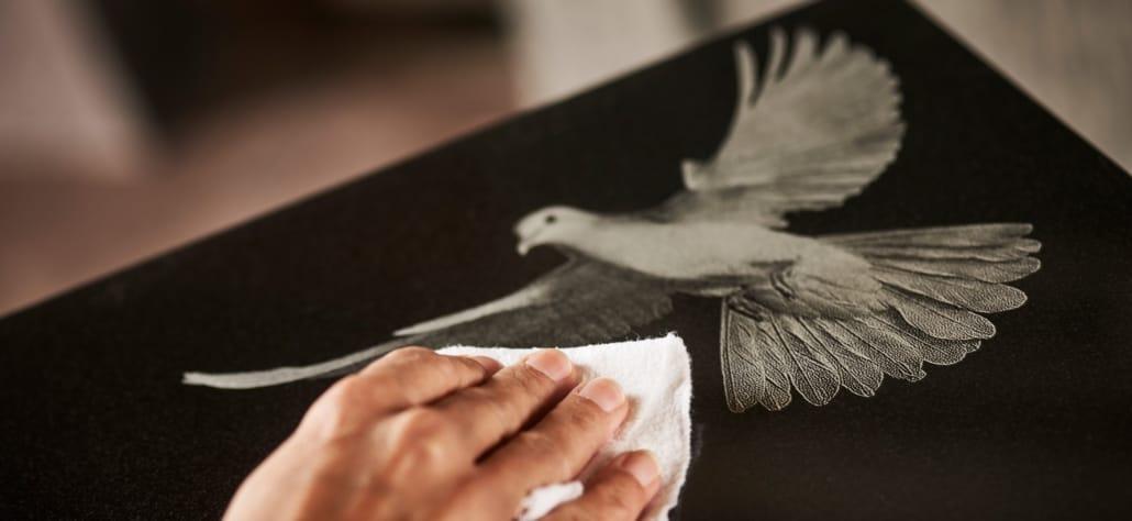 Fotogravur einer Taube auf einem Grabmal