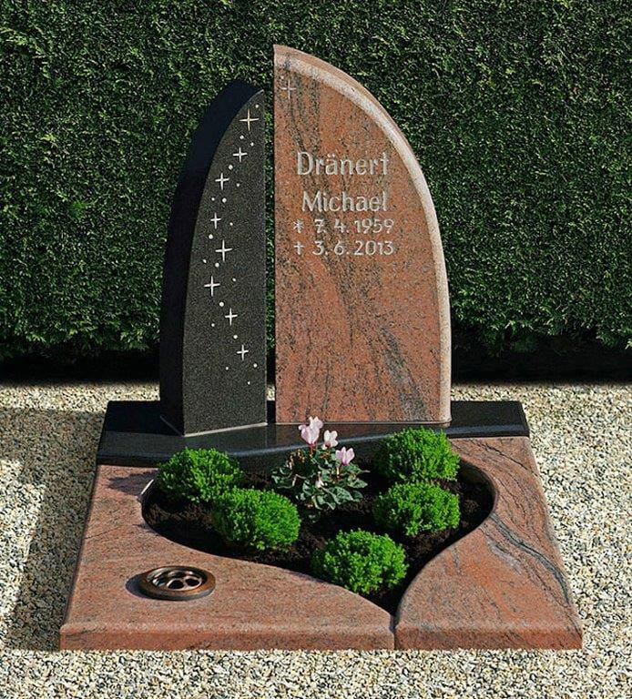 steinmetz-horst-urnengrabmal-urnengrabstein-braun-schwarz-bepflanzt